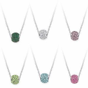 Crystal Birthstone Pendant Necklace Fine Silver
